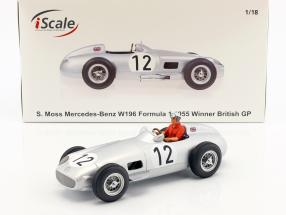 S. Moss Mercedes-Benz W196 #12 formula 1 1955 with driver figure red shirt 1:18 iScale