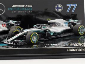 Hamilton #44 & Bottas #77 2-Car Set Mercedes-AMG F1 W09 Formel 1 2018 1:43 Minichamps