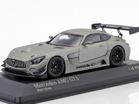 Mercedes-Benz AMG GT3 Plain Body Version year 2017 matt silver 1:43 Minichamps