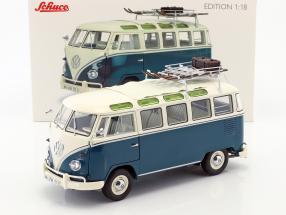 Volkswagen VW T1b Samba bus winter sports blue / White 1:18 Schuco