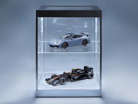Einzelvitrine mit LED-Beleuchtung und Drehteller für Modellautos im Maßstab  silber