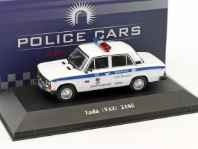 LADA VAZ 2106 police Russia year 1976 white / blue 1:43 Atlas