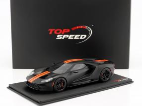 Ford GT year 2017 mat black with orange stripes 1:18 TrueScale