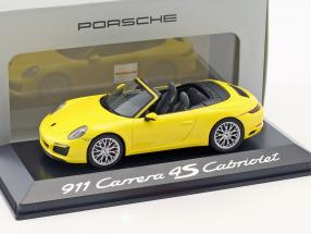 Porsche 911 (991) Carrera 4S Cabriolet gelb 1:43 Herpa