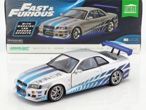 Brian's Nissan Skyline GT-R (BNR34) 1999 Movie 2 Fast 2 Furious (2003) silver / blue 1:18 Greenlight