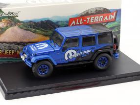Jeep Wrangler Unlimited All Terrain Mopar year 2012 blue / black 1:43 Greenlight