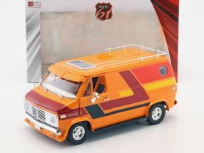 Chevrolet G-Series van year 1976 orange / red / yellow 1:18 Greenlight