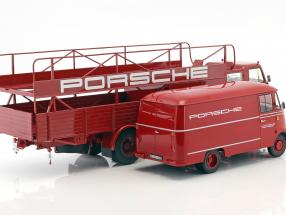 2-Car Set MAN 635 Race Truck and Mercedes-Benz L319 Porsche Racing Service 1:18 Schuco / Norev