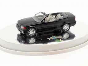 BMW 3er (E36) Cabriolet Baujahr 1993 – 1996 schwarz metallic mit weißem Innenraum 1:43 Schabak
