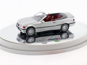 BMW 3er (E36) Cabriolet Baujahr 1993 – 1996 silber metallic mit rotem Innenraum 1:43 Schabak