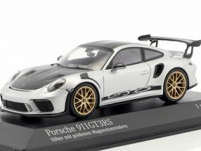 Porsche 911 (991 II) GT3 RS Weissach package 2018 silver with golden rims 1:43 Minichamps