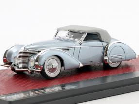 Delahaye 145 V12 Franay Cabriolet Closed Top Baujahr 1937 blau metallic 1:43 Matrix