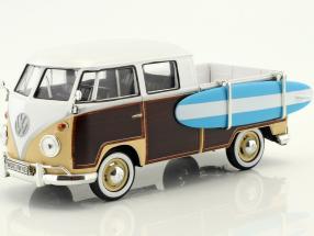 Volkswagen VW Type 2 T1 Pick up with surfboard brown / beige / white 1:24 MotorMax