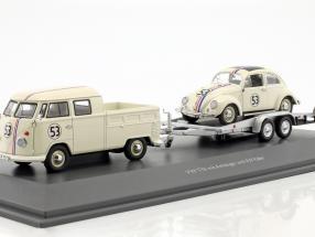 3-Car Set Volkswagen VW T1b Bus Doppelkabine with Anhänger und VW Käfer Ovali #53 beige 1:43 Schuco
