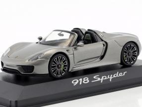Porsche 918 Spyder year 2013 liquid metal silver 1:43 Minichamps