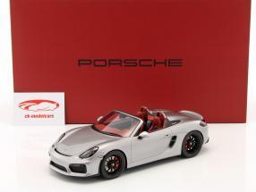 Porsche Boxster Spyder 981 year 2017 silver With Showcase 1:18 Spark