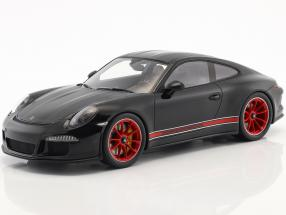 Porsche 911 (991) R year 2016 black / red with showcase 1:18 Spark
