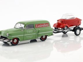 Opel Olympia Caravan mit Anhänger und Messerschmitt KR grün / rot 1:43 Schuco