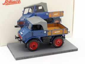 Mercedes-Benz Unimog 401 with wooden bed blue 1:32 Schuco