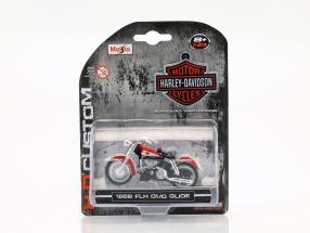 Harley Davidson FLH Duo Glide Baujahr 1958 rot / weiß 1:24 Maisto