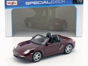 Porsche Boxster S Year 2005 dark red metallic 1:18 Maisto