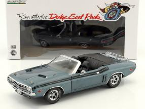 Dodge Challenger R/T Convertible year 1971 blue gray metallic 1:18 Greenlight
