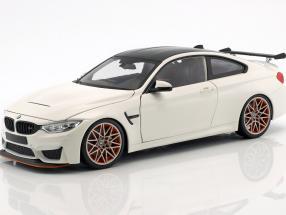 BMW M4 GTS Baujahr 2016 weiß mit orangefarbenen Felgen 1:18 Minichamps