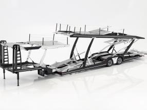 Auflieger Autotransporter für Mercedes-Benz Actros Sattelzugmaschine schwarz / silber 1:18 NZG