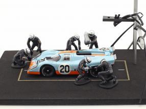 Pit Stop Mechaniker Set mit 6 Figuren und Zubehör blau