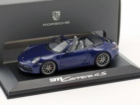 Porsche 911 (992) Carrera 4S Cabriolet year 2019 gentian blue 1:43 Minichamps