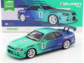 Nissan Skyline GT-R #1 Falken Tires Construction year 1999 green / blue 1:18 Greenlight