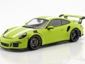 Porsche 911 (991) GT3 RS year 2015 light green / White 1:18 Minichamps