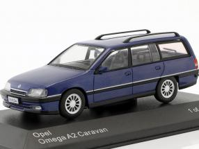 Opel Omega A2 Caravan Baujahr 1990-1993 blau metallic 1:43 WhiteBox