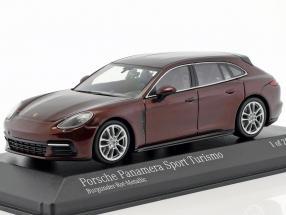 Porsche Panamera 4S Diesel Sport Turismo year 2017 burgundy red metallic 1:43 Minichamps