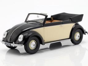 Volkswagen VW Käfer Cabriolet Year 1949 black / polish 1:18 Minichamps