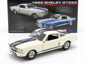 Shelby GT350 Supercharged year 1966 white with blue stripes 1:18 GMP