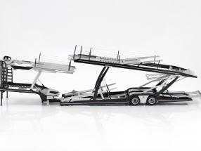 Lohr semitrailer car transporter for Mercedes-Benz Actros silver / black 1:18 NZG