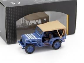 Jeep CJ-5 1/4 Ton Militär-Fahrzeug US Army Baujahr 1944 blau / beige 1:43 Cararama