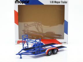 tandem Car trailer Mopar blue / white / red 1:18 GMP