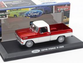 Ford F-100 Pick-Up Truck year 1970 red / white 1:43 Greenlight