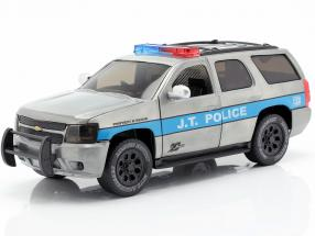Chevy Tahoe J.T. Police year 2010 silver gray / blue 1:24 Jada Toys