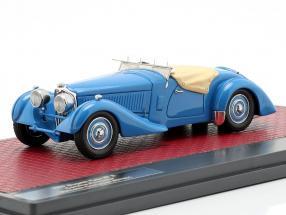 Bugatti Type 57 S Corsica Roadster M. Campbell half open screen Baujahr 1937 blau 1:43 Matrix