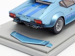 De Tomaso Pantera GT5 Baujahr 1982 hellblau metallic mit blauen Streifen 1:18 Tecnomodel 2. Wahl
