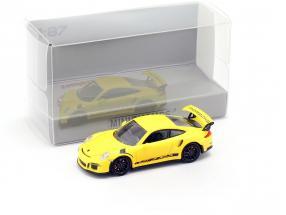 Porsche 911 (991) GT3 RS Baujahr 2013 racing gelb / schwarz 1:87 Minichamps