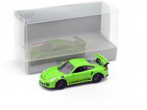 Porsche 911 (991) GT3 RS year 2013 yellow green / black 1:87 Minichamps