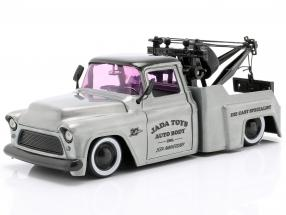 Chevy Stepside Tow Truck year 1955 silver grey / black 1:24 Jada Toys
