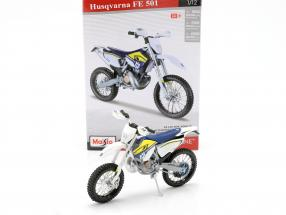 Husqvarna FE 501 Off Road motorcycle kit white / blue / yellow 1:12 Maisto
