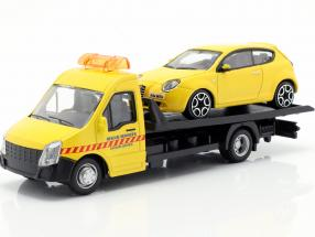 Alfa Romeo Mito with Flatbed transporter yellow 1:43 Bburago
