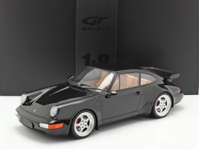 Porsche 911 (964) 3.6 Turbo Coupe year 1991 black with showcase 1:8 GT-Spirit