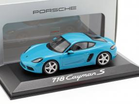 Porsche 718 Cayman S year 2016 Miami blue 1:43 Minichamps